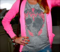 hot pink cardigan, skull, grey t-shirt, jean shorts