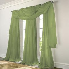 Create a soft, saturated glow in any room with this traditional light-filtering sheer Voile Panels, Sheer Curtain Panels, Drapes Curtains, Drapery, Olive Green Curtains, Black Sheer Curtains, Double Swag Shower Curtain, Curtain Designs, Sheer Fabrics
