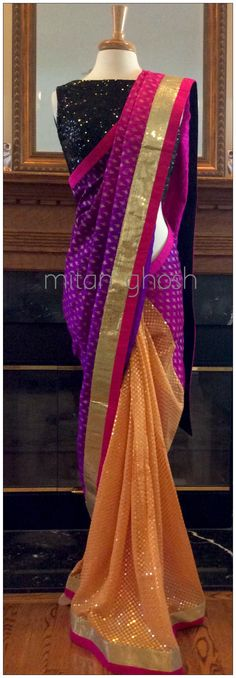 Printed saree with sequined georgette saree.