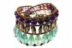 A Limited Edition - made in Italy. Stunning, hand beaded Multi-gemstone Bracelet is a true piece of art. A row of large Green tear-drop Flourite gemstones is surrounded by copper beads, followed by a row of 3 White Pearls framing Smoky Quartz gemstone beads. The last row begins with small Amethyst Beads, followed by Pink Agate Beads and at the center, round Purple Amethyst gemstones. treborstyle.com