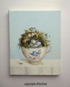 Teacup Nest painting original ooak Bluebird china and by 4WitsEnd via Etsy