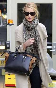Loving this whole look on Rose Huntington Whiteley - the cardi, the scarf, the bag