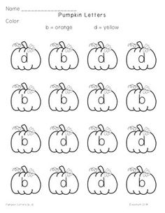 This free download contains 10 letter identification worksheets.  Students will recognize letters and color the pumpkins according to the code.  The letters on each page are visually similar (b and d, f and t, m and n, a and o, c and e).Credits:http://www.madebyteachers.com/Fun-Classroom- Creations/20http://www.teacherspayteachers.com/Amanda-PauleyThanks for looking!