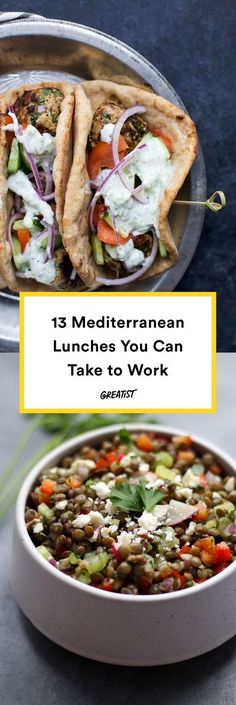 13 Mediterranean Diet Lunches That Make Meals at a Desk Way Better is part of Mediterranean diet recipes - You don't need a Greek giagiá in your life to master these healthy Mediterranean recipes They're easy to transport and even easier to mealprep Clean Eating Snacks, Healthy Snacks, Healthy Eating, Healthy Recipes, Dinner Healthy, Easy Recipes, Cooking Recipes, Healthy Dishes, Healthy Work Lunches