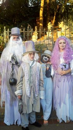 Our homemade Haunted Mansion Halloween costumes.