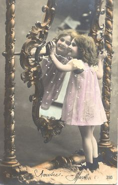 vintage postcard, girl in the mirror