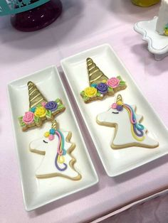 The cookies at this Unicorn Birthday Party are adorable!! See more party ideas and share yours at CatchMyParty.com #cookies #unicorn