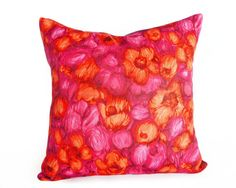 Vintage Throw Pillows, Vibrant Sunset Colors, Silky, Unique Eclectic, Colorful Floral Pillow Cover, Orange Pink Red, Bright Cushions, 18x18