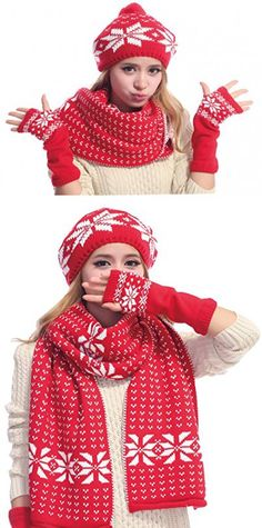 Women's Snowflake Hat Gloves and Scarf Winter Set,Red