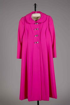 Fuchsia wool evening coat with rhinestone buttons, by Norman Norell, American, ca. 1968.