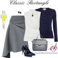 For more fashion tips, sign up here: http://eepurl.com/4jcGX  For the rectangle shape, here are some general guidelines. *soft fabrics that drape *clothing that gives the illusion of a waistline *details at the hips and shoulders   (For specifics, please check out the Style Academy: http://www.colleenhammond.com/product/style-academy/)