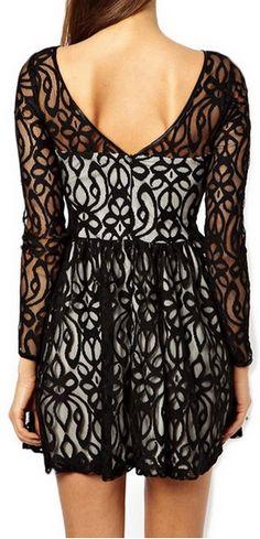$13.20 Crochet Flower Hollow Out Beam Waist Ruffles Polyester Solid Color Dress For Women