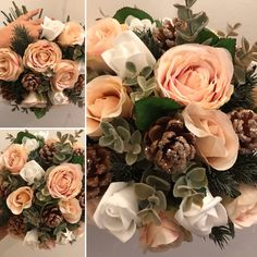 A winter bouquet of white and blush roses Blush Roses, White Roses, White Lace, Artificial Wedding Bouquets, Winter Bouquet, Wedding Ties, Lace Ribbon, Floral Wreath, Bridesmaid