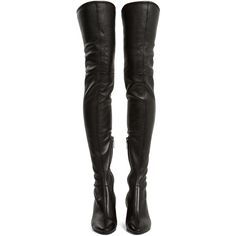 Saint Laurent Loulou over-the-knee leather boots ($1,620) ❤ liked on Polyvore featuring shoes, boots, black block heel boots, above the knee boots, black leather over the knee boots, black thigh-high boots and real leather over the knee boots