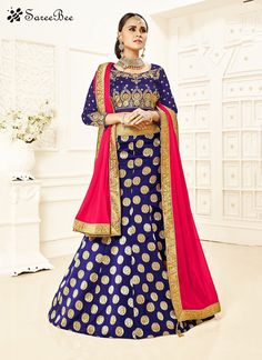 This season your look gets better definition with just a little attention to detail. Real attractiveness can come out as a result of the dressing design with this navy blue brocade designer lehenga ch...