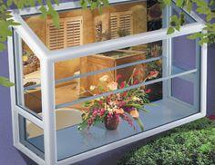 Garden Windows transform a kitchen window into a greenhouse. Porch Windows, Kitchen Window, Kitchen Garden Window, Window Herb Garden, Window Greenhouse, Greenhouse Kitchen, Window Prices, Solarium, Kitchen Bay Window