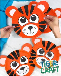 This paper plate tiger craft is a fun and easy kids craft! Download the free printable template and make with your children. It's great for creating with preschool, kindergarten and elementary aged children.   #simpleeverydaymom #kidscrafts #tigercrafts Crafts For Seniors, Paper Crafts For Kids, Easy Crafts For Kids, Toddler Crafts, Preschool Crafts, Diy Crafts To Sell, Preschool Kindergarten, Art For Kids, Tiger Crafts