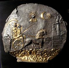 Plate depicting Cybele pulled by lions, the sun and moon gods, and Mihra, ca.100 BCE
