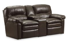 Touchdown Black Leather Double Reclining Console Loveseat w/Storage