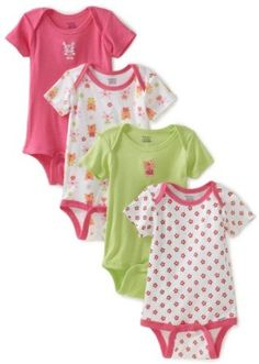 59d3c41c3c7cbc Gerber Baby-Girls Infant 4 Pack Variety Bunny Onesies Brand, Pink/Green, 12  Months Bunny or Cupcake will work for the food table
