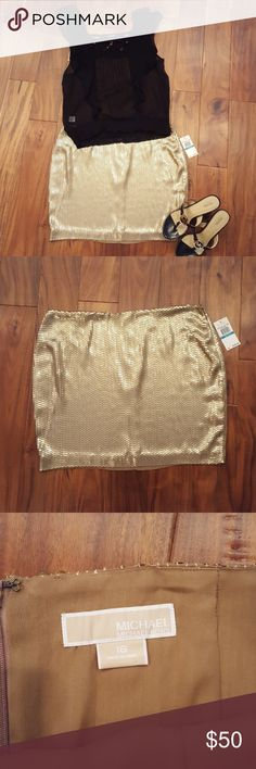 Michael Kors Gold Sequin Mini Skirt NWT Beautiful gold sequined Michael Kors mini skirt. Zipper with hook and eye closure. Fully lined. New with tags. No sequins missing. Nothing wrong with this skirt. I have just lost a lot of weight and have never worn it. It is totally beautiful and totally sexy! Good old fashioned glamour! See last pic for measurements. Shoes available in separate listing. Michael Kors Skirts Mini
