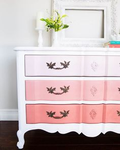 The easiest tutorial on how to paint furniture .creating a DIY ombre dresser. Just 4 easy steps to creating this look. furniture How to Paint Furniture and Ombre Dresser Refurbished Furniture, Paint Furniture, Repurposed Furniture, Furniture Makeover, Home Furniture, Furniture Design, Furniture Ideas, Furniture Stores, Bedroom Furniture