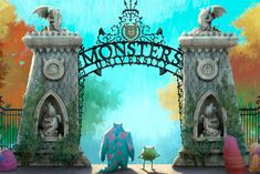 What, the four 'Monsters, Inc. You need more 'Monsters University' love? How about some beautiful new concept art from the film that shows off the actual Monsters University that Mike and Sulley attend? Disney Pixar, Walt Disney, Animation Disney, Disney Monsters, Disney Land, Monsters Ink, Disney Wiki, Monster University, University University