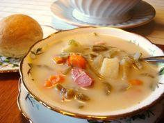 Green Bean Soup -  www.mennonitegirlscancook.ca ..... ham hock, hot pepper, bla pepper kernels, bay leaf, onion, carrots, potatoes, green beans, bouillon