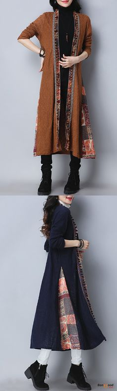 US$40.88 + Free shipping. Size: M~2XL. Color: Khaki, Navy. Fall in love with casual and elegant style! Folk Style Vintage Print Patchwork Long Sleeve Women Long Coats.
