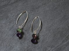 Green purple silver earringshandmade beaded by FlorenceJewelshop