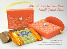 Purse Box - Altered Stampin' Up! Lots to Love Box with Bubbles & Fizz Designer Series Paper by Dawn Olchefske #dostamping #stampinup #handmade #cardmaking #stamping #diy #papercrafting #packaging #treatholder #lotstoloveframelits #bubble&fizzDSP #saleabation #pursebox #handmade