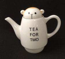 Shinzi Katoh Tea for Two Tea Set. Cute Yellow Black White Monkey (Pot, Lid Only)