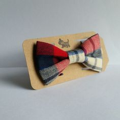 Plaid Flannel Bow Tie navy blue red off cream bows for dogs - pinned by pin4etsy.com