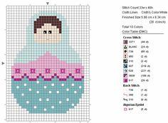 Matryoshka (Nesting Doll) - free pattern for cross stitch or hama beads
