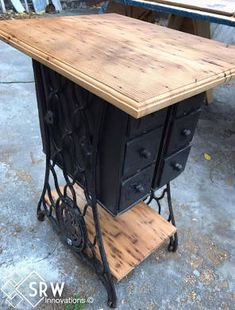 Sewing Machine Side Table w/ Reclaimed Wood Top And Drawers ...