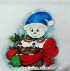 Coisas da Nil - Pintura em tecido: Bonequinho de neve...