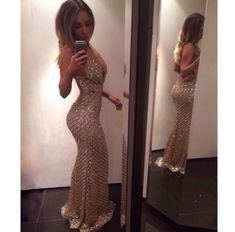 Diyouth.com Amazing Long Sexy V-neck Backless Sequin Prom Dress Evening Dresses, sexy prom dress, open back evening dress, beaded prom dress, beading evening gown