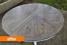 Cerused wooden round table after refinishing