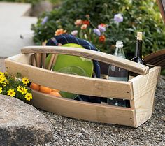 Wine Barrel Basket - These fine white oak, reclaimed wine barrel staves - many still tinted burgundy on the inside - may no longer contain wine, but they're just as functional and equally trustworthy recycled into baskets. Shaped to hold all manner of items, from garden tools to magazines, the multi-use baskets combine roominess with easy mobility and a smartly bowed profile
