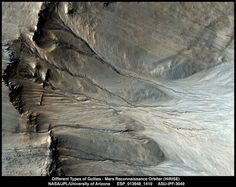 The powerful Mars Reconnaissance Orbiter HiRISE camera reveals many details of gullies that have never been seen before. Some hypotheses about the formation of gullies involve the flow of some amount of liquid (water, brine, or some other substance), and others postulate that gullies could be formed by the downhill movement of dry material such as dust or sand. To further complicate things, different gullies could have formed by different methods. Mars Planet, Different, Texture, Flow, Painting, Surface Finish, Painting Art, Paintings, Painted Canvas