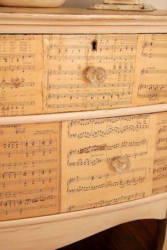 Decoupage sheet music onto a dresser {via MissMustardSeed.com}