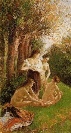 """Camille Pissarro (1830-1903) ~ """"Baigneuses discutant au bord de l'Eau"""", 1895 (Détail) ~ Huile sur Toile ~ Collection Privée"""
