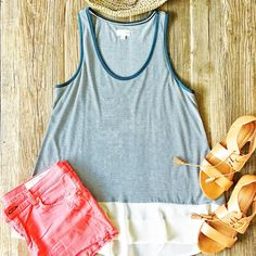 ✨ HP✨ Maison Jules striped contrast tank top Never worn striped swing tank top with a contrast cream bottom. Wear with shorts or skinny jeans and sandals for a perfect casual summer outfit! Maison Jules Tops Tank Tops