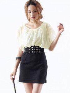 Apricot Chiffon Short Sleeve Knitted Dress For Women