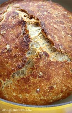 Multigrain No Knead Bread recipe from Jenny Jones Anyone can bake this foolproof hearty loaf made with oats and whole wheat flour Artisan Bread Recipes, Dutch Oven Recipes, Cooking Recipes, Loaf Recipes, Delicious Recipes, Cake Recipes, Dinner Recipes, Bread And Pastries, Pain Pizza