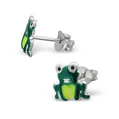 Frog Green Studs - Silver Earrings #Silvadore