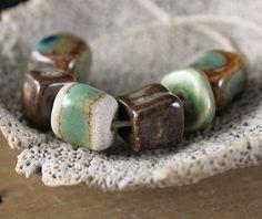handmade ceramic beads | Handmade stoneware ceramic beads Green and Brown by ChelleV2, $16.00