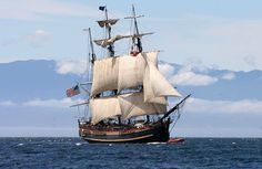 The beautiful HMS Bounty (replica). Victim of Hurricane Sandy  Lost 90 miles S.E. of Cape Hatteras  Crew rescued by U.S. Coast Guard.  2 crew still missing