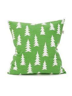 Scandinavian Swedish fabric retro tree cushion cover - Gran Grass Green &…