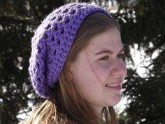 Hand Crocheted Slouchy Hat In Light Purple Womens by WillowPrairie, $20.00